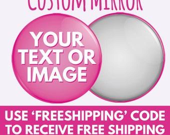 58mm - 77mm Custom Pocket Mirror - Hen Party - Charity Wedding - Vanity HandBag Mirror 2.2 & 3 inch - Any Design - Design Service Available