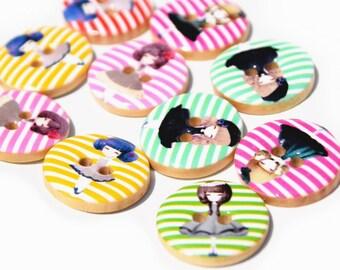 set of 5 little girls modern wood buttons