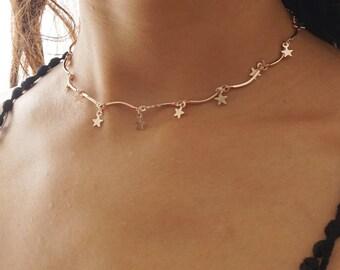 Star Choker, Rose Gold Star Dangle Choker, Dainty Star Choker Necklace, Simple Star Choker