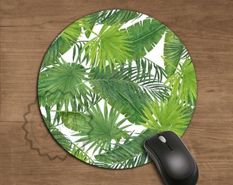 Coworker Gift Greenery Tropical leaves Mouse Pad Office Desk Accessories Banana Palm Leaf Art Print Mousepad Woman Gift Idea Artwork - 358