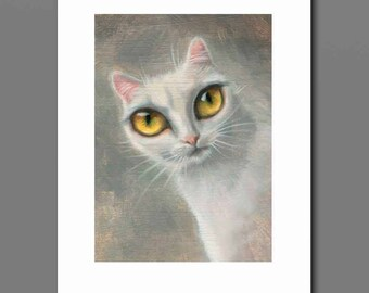 White Cat Art, print of big eye white cat, from white cat oil painting, big eyes art, pop surrealism, lowbrow cat art, fantasy cat art, goth