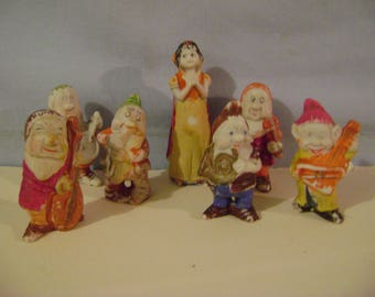 Vintage Snowwhite and 6  Dwarfs with Musical Instruments