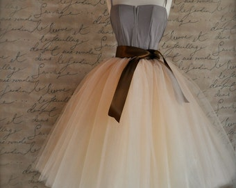 Champagne beige tulle skirt with your choice of satin sash waist. Elegant neutral skirt. TutusChic original since 2009.