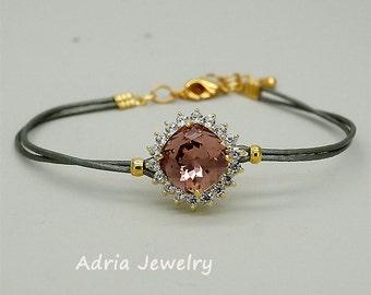 Blush bracelet,Blush Pink crystal bracelet,Blush Bridesmaid bracelet,Blush bridesmaid gift, Swarovski bracelet, Gold Bracelet, gift for her