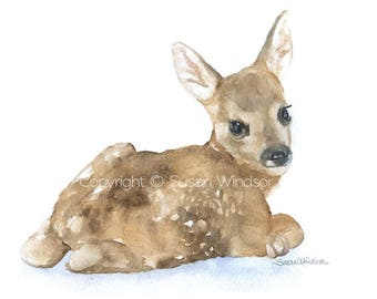 Watercolor Painting Deer Fawn Lying Down Fine Art Giclee Print - 7 x 5 - Nursery Art