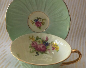 Shelley Oleander Pastel Green Tea Cup and Saucer Floral Posy