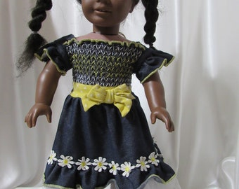 """Blue smocked knit dress for 18"""" dolls, perfect for a picnic."""
