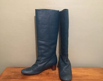 Womens Tall Blue Leather Boots Size 40 25 made in Japan