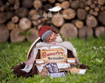 Digital Backdrop - Campfire Tin - newborn digital image - Smores set - 300 dpi