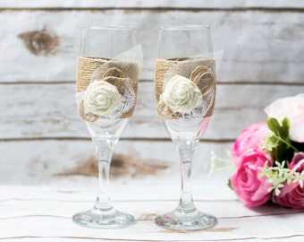 Toasting Glasses Wedding Champagne glasses Flutes Rustic wedding Glasses Barn Country Chic Wedding