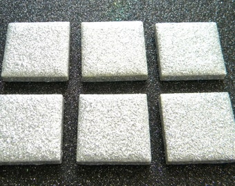 6 SILVER GLITTER Square Mosaic Ceramic Tiles - Hand Painted