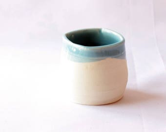 Tiny Bowl, porcelain art, Small White Ceramic Bowl, Sky Blue glaze, Porcelain Bowl, Small bowl,blue and white clay vase,7300