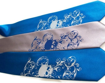 RokGear Skull print Neckties - 3 Mens ties print to order in colors of your choice