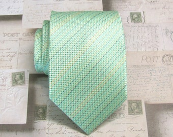 Mint Green Mens Tie. Mint Green Light Yellow Pale Blue Stripes Mens Necktie With Matching Pocket Square Option