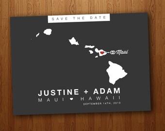 Hawaii Save the Date Wedding Printable Postcard