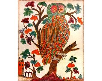 Russian folk art owl print, Lubok art, Colorful antique owl art, Vintage owl art, Animal art, Bird art, Owl poster, Owl wall art, Russia art