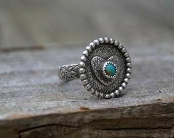 Sterling Turquoise Statement Ring. Handmade  . Rustic . Earthy . Boho . Hand Stamped . Southwestern