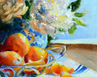 FRENCH ORANGES,Art Print, Lemons and Delft, White Roses, gift for mom,gift for her, Christmas gift