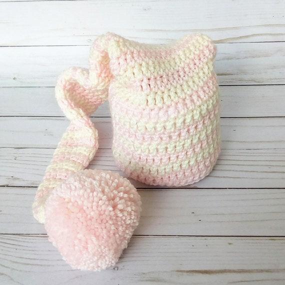 Newborn Pink & Cream Striped Elf Hat