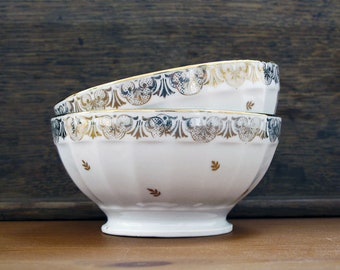 set of 2 french cafe au lait bowl , goldy country flowers, fine porcelain, goldy and white, Gilded Flower ,France