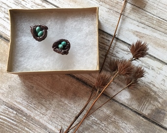 Tiny bird nest earrings, polymer clay bird nests, Robin's nest earrings
