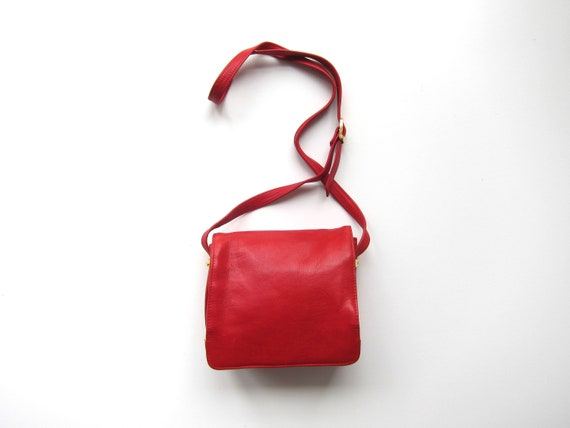 Red Leather Purse | 90s Square Bag | Boxy Leather Purse Vintage Cross Body Shoulder Bag