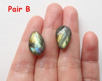 AA grade Flashy Labradorite Half Top Drilled Faceted Petals 10x15x6 mm One Pair Perfect for earrings F3348