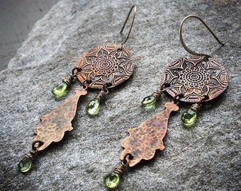 Long Tribal BOHO Earrings w/ Green Peridot & Rustic Copper Mandala Design - August Birthstone / 7th Anniversary Jewelry Gift for Her