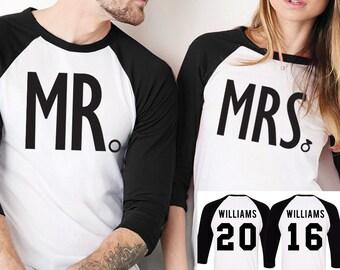 MRS Bride Shirt + MR Groom Baseball Tees CUSTOM Names & Numbers Set Black, Couples Shirts, Honeymoon Shirts, Bride and Groom Tshirts Set