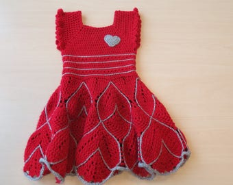 Red with silver princess dress-crochet-girl