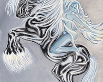 "Free Spirit - Horse & Goddess 20""x16"" from Original Painting on Stretched Canvass *on sale*"