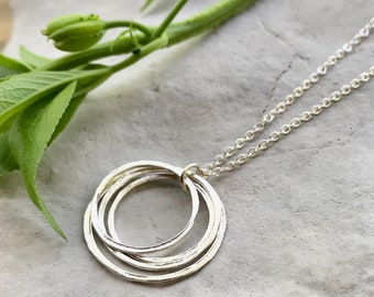 Silver Circle Necklace, Four Circle Necklace, Minimalist Layered Circle Necklace   Amy Friend