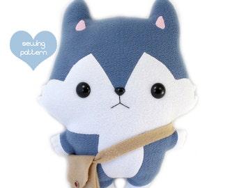 "PDF sewing pattern - Wolf Husky stuffed animal - easy beginner DIY dog plush toy kawaii cute anime softie 14"""