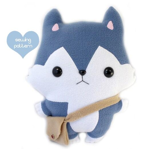 PDF sewing pattern Wolf Husky stuffed animal easy beginner