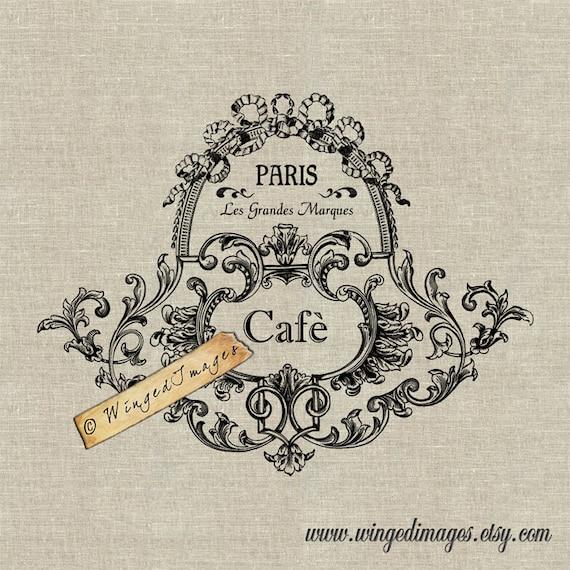 Vintage Französisch Glas Label Cafè. Sofortiger Download