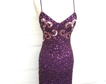 Vintage 1980s new old stock Betsey Johnson purple sequined beaded spaghetti straps cocktail prom dress size XS S
