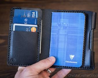 """Notebook/wallet/pen, """"Park Sloper Medium"""" - black bridle leather"""