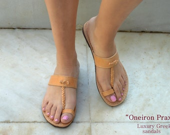 Antique grec sandales, sandales en cuir avec des bretelles, sandales en cuir naturel, sandales grecques, la mythologie a inspiré sandales. Fait à la main en Grèce.