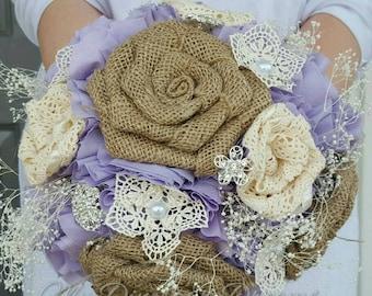 Burlap and lace bouquet,  rustic bride bouquet,  rustic lace bouquet,  country bride,  burlap flowers,  custom bouquet,  lace flowers