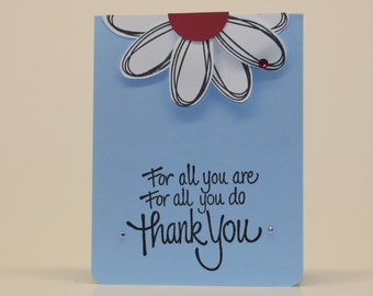 Hand Stamped Thank You Greeting Card Daisy