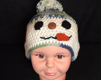 Crochet Hat, Snowman Hat