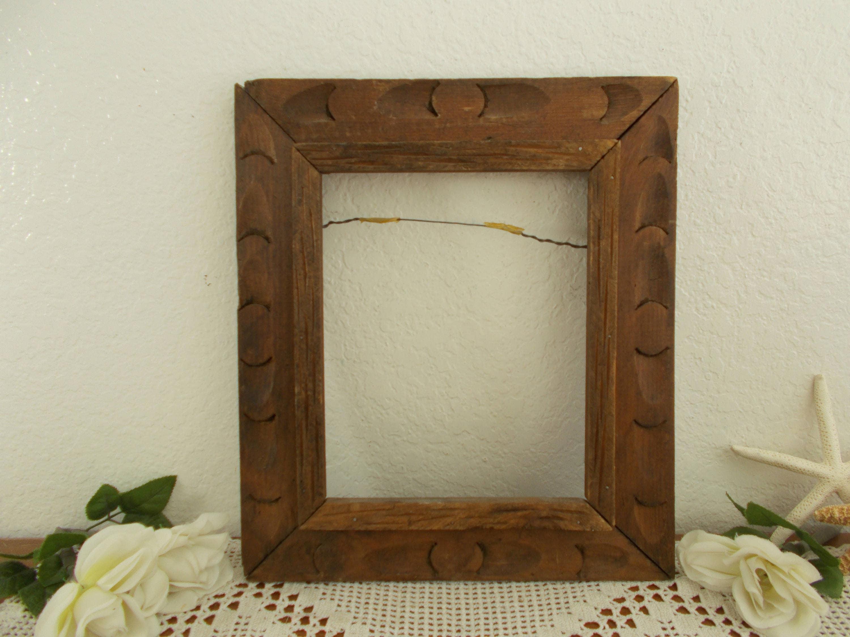 Vintage ancho madera tallada imagen marco 8 x 10 foto decoración ...