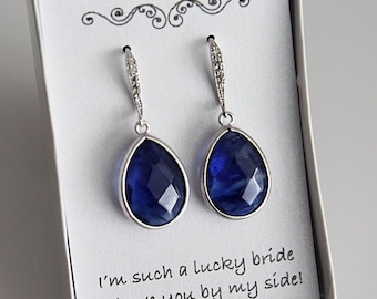 Blue Bridesmaid Earrings, Blue Bridesmaid Jewelry, Blue Bridesmaid Gift, Blue Drop Earrings, Blue Dangle Earrings, Blue Prom Earrings