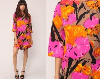 70s Floral Dress 60s Mod Mini Hippie 1970s Mod Shift Boho Vintage Tunic Pink Purple Orange Print Long Sleeve Bohemian Medium