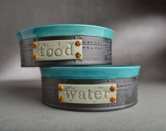Slow Feed Dog Bowl Set Made To Order Sheet Metal Dog Bowls  by Symmetrical Pottery
