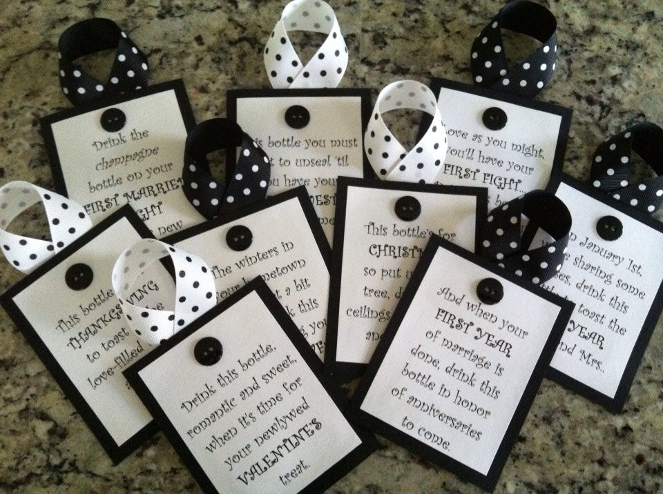 Wine Gifts For Wedding: Bridal Shower Wine Tags Black And White