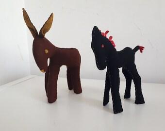 Vintage Felt Donkey and Horse