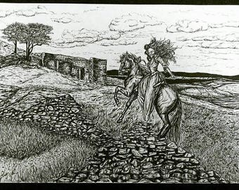 Cathy, Queen of the Countryside. A Bronte, Wuthering Heights, inspired pen and ink illustration print. Featuring Top Withens, Haworth.