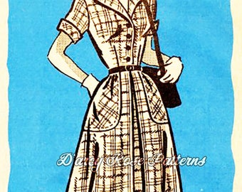 Marian Martin R9181 Vintage 50s Mail Order Stylish Shirtdress Sewing Pattern