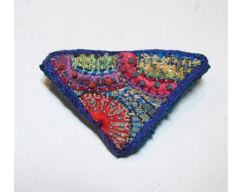 Hand Embroidered Colorful Triangle Pin